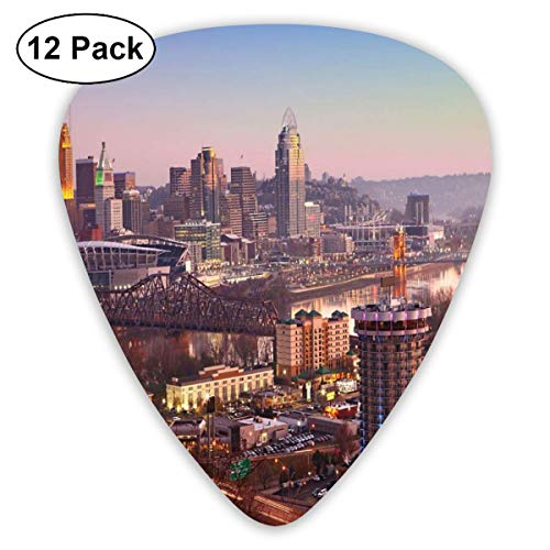 - Guitar Picks 12-Pack,Center Of The City In Violet Tones Transition Memorial Urban Top Of Buildings