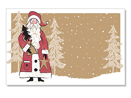 Pack Of 50, Woodland Santa Enclosure Cards 3-1/2'' x 2-1/4'' Made In USA by Generic