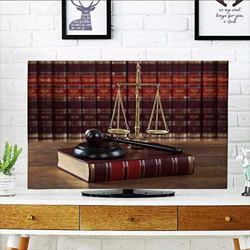Mallet Hard Cord - Philiphome tv dust Cover Closeup of Mallet and Legal Book with Justice Scale on Table in courtroom Dust Resistant Television Protector W32 x H51 INCH/TV 55