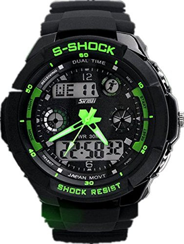 Waterproof Digital LED Multi-function Military Sports Watch Green - 9