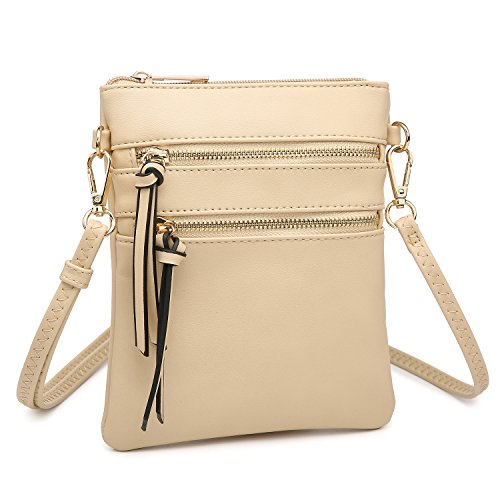 Women's Mini Crossbody Bag Multi Pocket Messenger Bag Functional Lightweight Shoulder Bag (Tan)