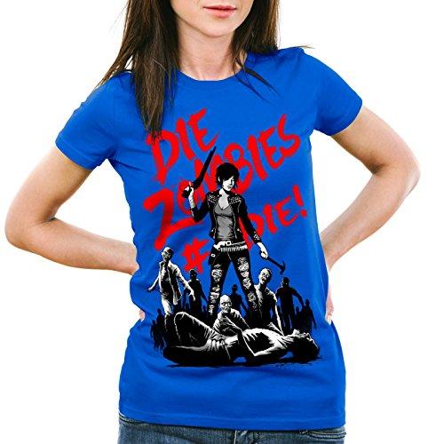 style3 Die Zombie T-Shirt da donna walking zombie dixon the halloween dead, Colore:blu;Dimensione:S