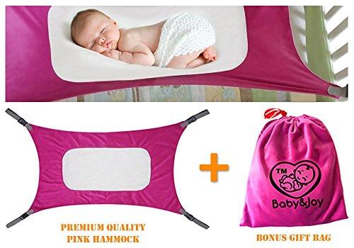 Baby Hammock for Crib, Mimics Womb, Bassinet Hammock Bed, Enhanced Material, Upgraded Safety Measures, Newborn Infant Nursery Bed by Baby&Joy (Bonus Gift Bag) (Rose Pink) - Hammock Rocker
