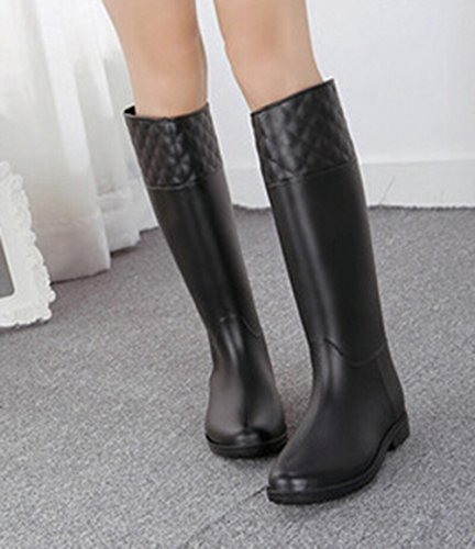 Shoes Black Rain Boots Rain Calf Mid GOLD Womens KISS Delicate TM xUvzqWp