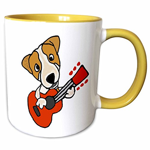 3dRose mug_256479_8 Funny Cute Jack Russell Terrier Puppy Dog Playing Guitar, 11 oz