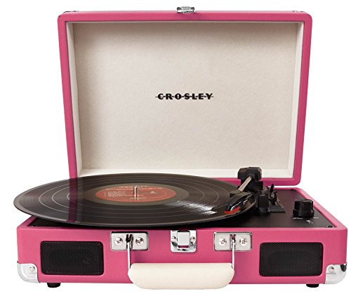 Crosley CR8005A-PI Cruiser Portable 3-Speed Turntable, Pink