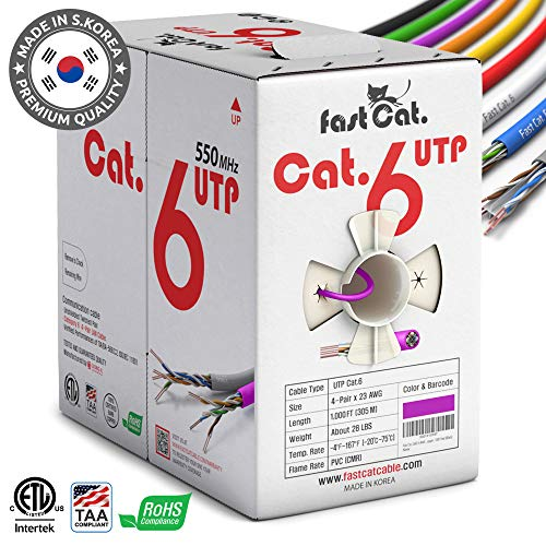 (fastCat. Cat6 Ethernet Cable 1000ft - Insulated Bare Copper Wire Internet Cable with Noise Reducing Cross Separator - 550MHZ / 10 Gigabit Speed UTP LAN Cable 1000 ft -Premium CMR Network Cable(Purple))