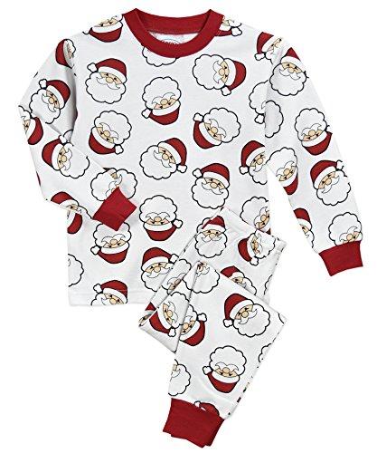 Sara's Prints Kids' Little Super-Soft Classic Pajama Set, Santa Faces, 7 -