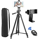 """Phone Tripod, PEYOU Upgraded 62"""" Aluminum Camera Tripod + 360° Rotation Smartphone Holder Mount + Bluetooth Remote Control Shutter Compatible iPhone X 8 7 6 Plus 6s, Galaxy Note 8 S9 S8 S7 S6"""