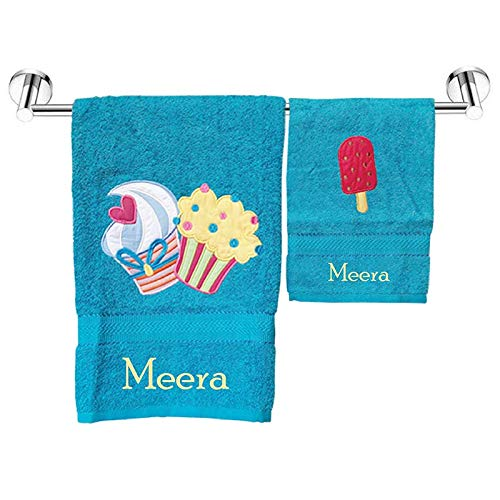 Personalized Towels Cute Lil Cup Cakes Kids Bath Towel Plus Hand