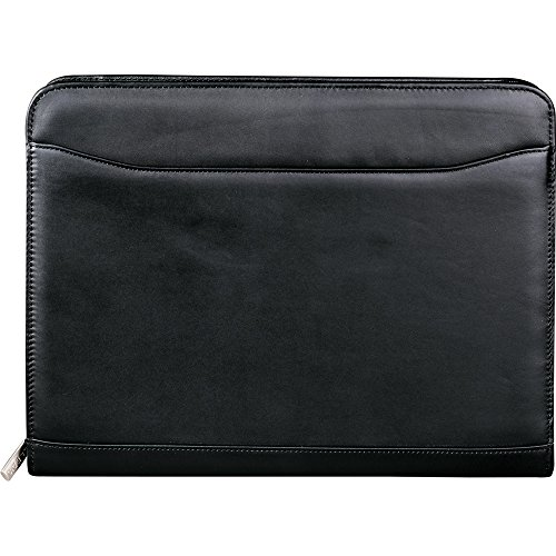 Leed's Leather Zip Around Padfolio Organizer with Letter Pad Black