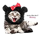 Pawaboo Pet Costume, Fancy Comfortable Fluffy Pet Dog Puppy Cat Mickey Wig Hat Clothes Costume for Cosplay Halloween Christmas Festival Party Dressing Up, Black
