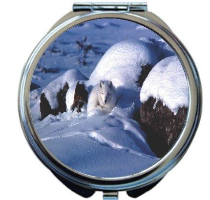 Rikki Knight Arctic Fox Design Round Compact Mirror by Rikki Knight