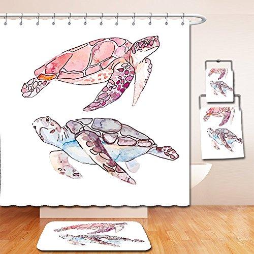 Nalahome Bath Suit: Showercurtain Bathrug Bathtowel Handtowel Turtle Hand Painted Watercolor Artwork of Two Turtles Pastel Cute Underwater Theme Pink Fuchsia - Sassafras Towel Paper Holder