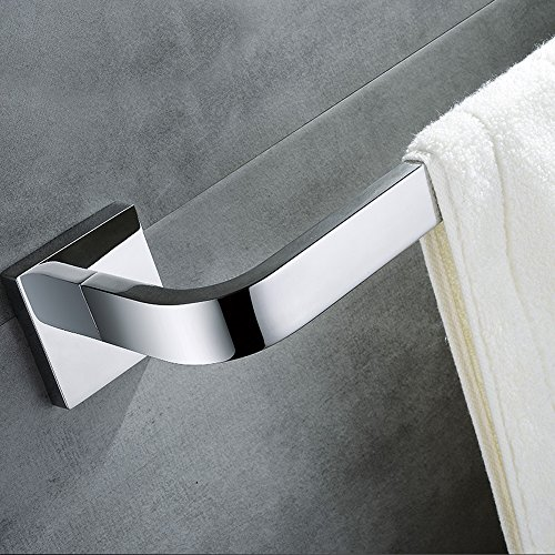 Leyden TM Wall Mounted 304 Stainless Steel Square Single Towel Bar/Towel Rail for Bathroom, Chrome