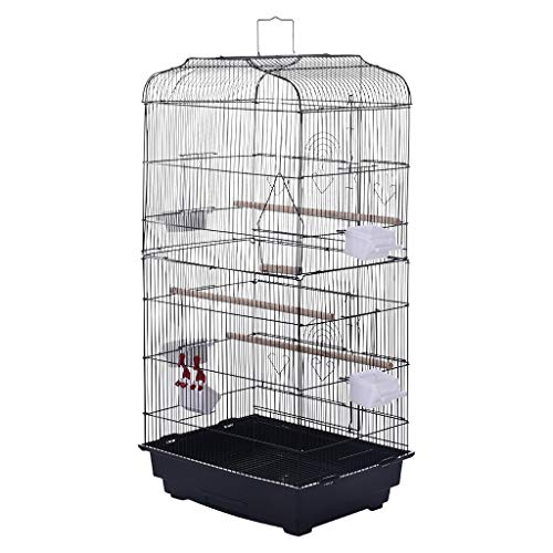 Afazfa Portable Hanging Bird Cage for Parrots Canary Budgies Lovebirds Travel Bird Cage Black