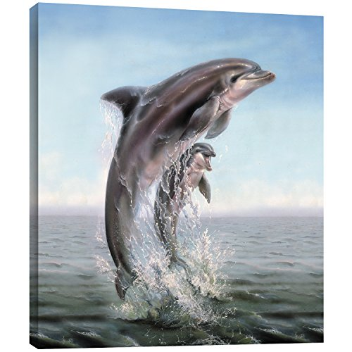 Tree-Free Greetings EcoArt Home Decor Wall Plaque, 11.25 x 11.25 Inches, Dolphin Leaping Themed Wildlife Art (Leaping Dolphin)