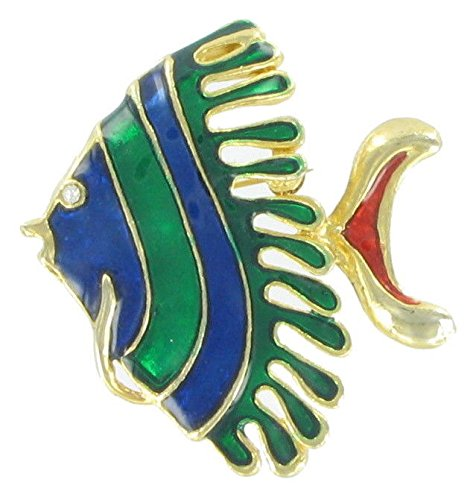 Brooch Silver Fish (Blue Green Enamel Gold Tone Angel Fish Pin Brooch Scarf Clips Corsage Jewelry for Lady)