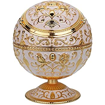 Vintage Windproof Ashtray with Lid for Cigarette Metal Portable Cigar Ashtray Odor Eliminator Indoor and Outdoor Use Hand Stamped Rose Pattern Fancy Gift for Men Women (Jade White- Shiny Gold Flower)