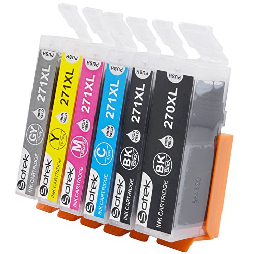 PGI-270XL CLI-271XL Ink Cartridges 6 Color Gray, Sotek 270 271 Ink Compatible PIXMA MG7720 TS8020 TS9020 Printers (1 BK, 1 PGBK, 1C, 1M, 1Y, 1Gray - 6 Pack) by Sotek
