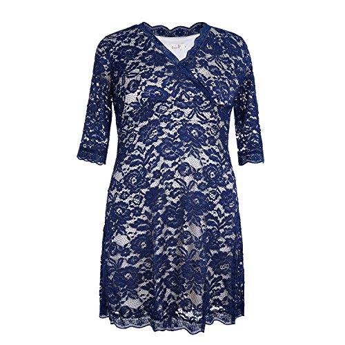 Dressray Women's Plus Size Scalloped Boudoir Lace Dress 3XL Navy (Cheap Fancy Dress Plus Size)