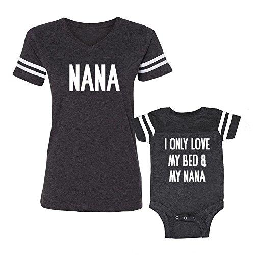 We Match!! - Nana & I Only Love My Bed & My Nana - Matching Women's Football T-Shirt & Baby Bodysuit Set (24M Bodysuit, Women's Football T-Shirt XL, Smoke, White Print)