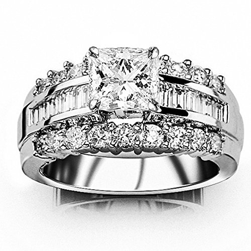 1.6 Ctw 14K White Gold GIA Certified Princess Cut Channel Set Baguette and Round Diamond Engagement Ring, 0.5 Ct I-J VVS1-VVS2 Center 0.5 Ct Princess Baguette