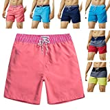 MaaMgic Mens Quick Dry Solid Swim Trunks with Mesh Lining Swimwear Bathing Suits,Red-glm005,Large