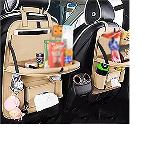 Seat rear compartment storage bag/PU leather rear seat manager/dining table car rear seat pocket storage bag/tray foldable car tablet holder (2 pcs):