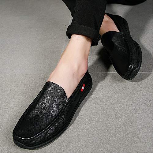 43 Dimensione barca Colore scarpe casual Nero da guida suola morbida uomo per ZHRUI EU traspirante Vera da Rosso piatte pelle 1wgCagUq