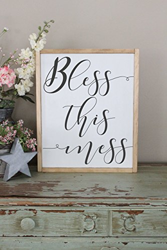 Bless This Mess Framed Wood Farmhouse Décor Sign