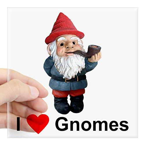 CafePress I Love Gnomes Square Sticker Square Bumper Sticker Car Decal, 3