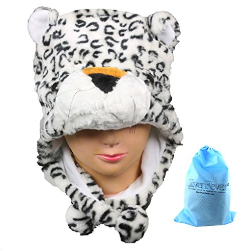 Silver Fever Plush Soft Animal Beanie Hat (White Leopard)
