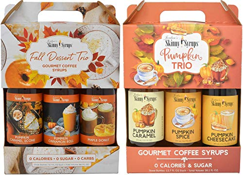 Jordan's Skinny Syrups Sugar Free Pumpkin and Fall Desserts Trio Gift Boxes 375 ml Bottles (6 Flavors Total) with By The Cup Coasters