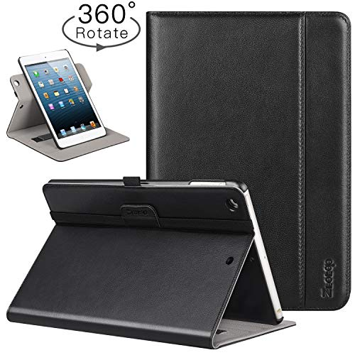 - Ztotop iPad Mini 1/2/3 Case, Leather Folio Stand Protective Case Smart Cover with Multi-Angle Viewing, Pocket, Functional Elastic Strap for iPad Mini 3/ Mini 2/ Mini 1 (Genuine Leather #3 Black)