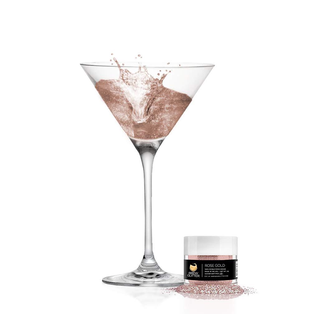 BREW GLITTER Rose Gold Edible Glitter For Drinks, Cocktails, Beer, Drink Garnish & Beverages | 4 Gram | KOSHER Certified | 100% Edible & Food Grade| Kosher Certified | Vegan, Gluten, Nut Free