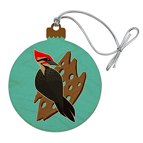 (GRAPHICS & MORE Woodpecker on Wood with Holes Wood Christmas Tree Holiday Ornament)