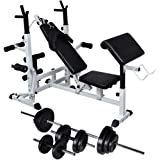 vidaXL Workout Bench with Weight Rack Dumbbell Set Multi Models 30.5kg/60.5kg