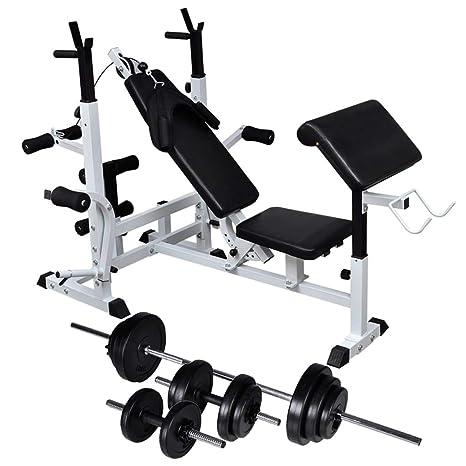 Festnight Banco Musculación Banco de Musculación Multifunción Ajustable Plegable Inclinable para Entrenamiento Completo con Soporte Pesas