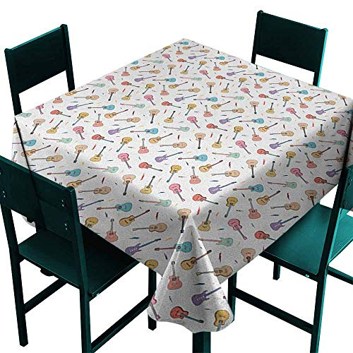 (Square Table Cloth Guitar Rhythm and Melody Pattern with Colorful Acoustic Guitars Country Music Songs Theme for Events Party Restaurant Dining Table Cover 50x50 Inch)