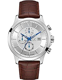 Mens Gc Executive 44mm Brown Leather Band Steel Case Quartz Silver-Tone Dial Watch Y27002G1