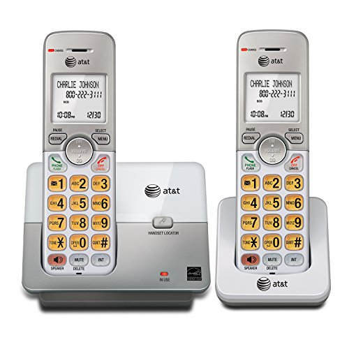 AT&T EL51203 DECT 6.0 Phone with Caller ID/Call Waiting, 2 Cordless Handsets, Silver (Home Phone 2 Handsets)