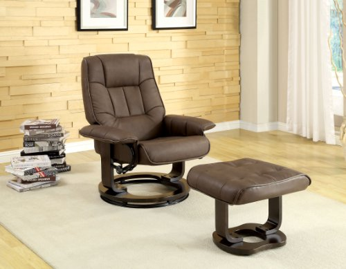 - Rayshell Naudine Chocolate Leatherette Swivel Recliner Chair with Ottoman