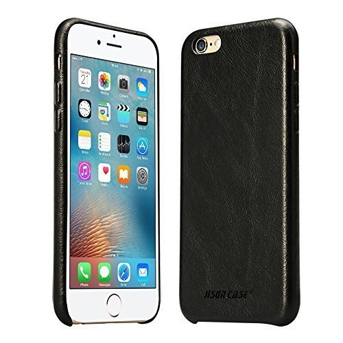 Jisoncase iPhone 6s Case Genuine Leather Hard Back Case Slim Fit Protective Cover Snap on Case for iPhone 6/6s [Black]-JS-I6S-02A10
