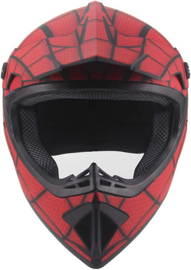 WQLESO Mens Women Imitation Spider-Net Motocross Helmet Goggles Gloves Mask DOT Kids Full Face Bike Helmet Motorcycle Off Road Crash MTB Helmets