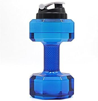 WONMILLE 2.2L portátil Botella de Agua en Forma de Mancuernas Pesas Suplementos – Coctelera para complementos de proteína Botellas Agua eléctrica para ...