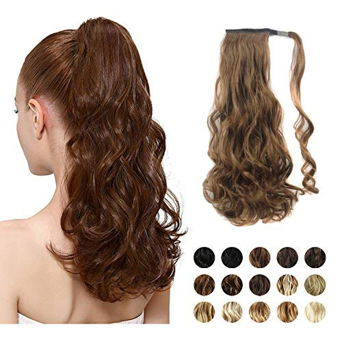 """FEHSFEN 21"""" Curly Wrap Around Ponytail Hair Extensions Long Wavy Clip in Synthetic Hair Ponytail Hairpieces for Women(Dark Brown mix Auburn Evenly) ()"""