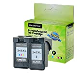GREENCYCLE 1 Pack PG245XL Black and 1 Pack CL246XL Tri-Color High Yield Remanufactured Ink Cartridge Set with new chip Compible with Canon PG-245XL CL-246XL 245XL 246XL use in Canon For Canon PIXMA IP2820,PIXMA MG2420,PIXMA MG2520,PIXMA MG2920,PIXMA MG2922,PIXMA MG2924 ,PIXMA MX492, PIXMA MX490 ?Total 2 Pack,Show Ink Level?