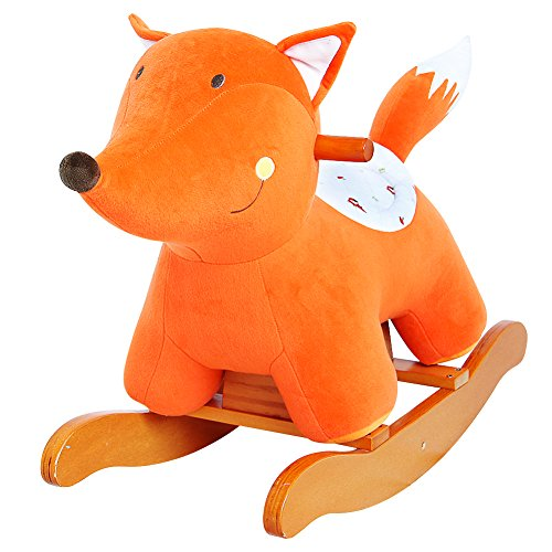 Labebe Baby Wooden Rocking Horse Orange Fox, Boys & Girls Toddler Rocking Ride-on Toys for 1-3 years old, Stuffed Animal Seat, ASTM/CE/CE Safety Certified, Creative Birthday Gift