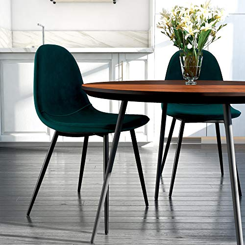 - DHP Casi Upholstered Dining Chairs, Green Velvet, Set of 2